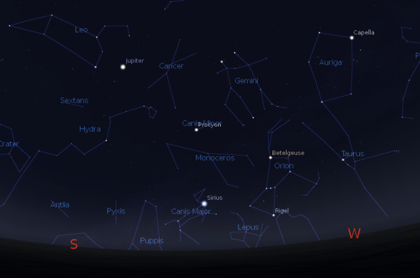 Jupiter with winter and spring constellations
