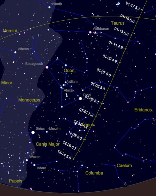 Comet Lovejoy 12/24/14 to 1/17/15