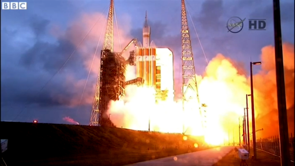 Delta IV Heavy rocket liftoff  carrying the Orion test article