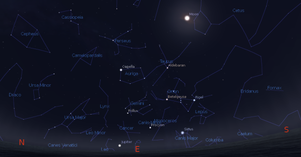 Jupiter and the winter constellations
