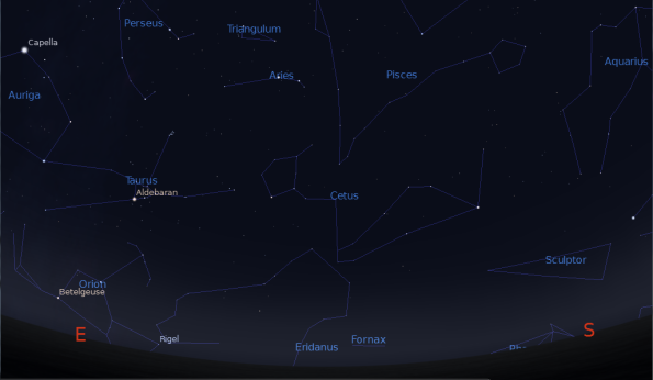 Orion rising at 7 p.m.