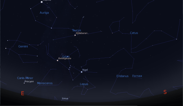Orion rising higher at 9 p.m.