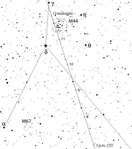 Finder chart for 2004BL86 as it sails past the Beehive Cluster