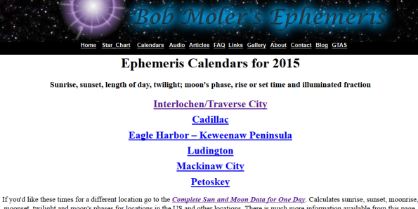 Calendars main page