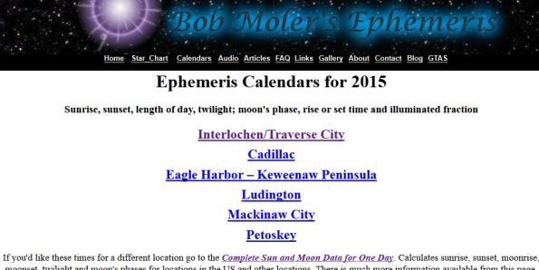 Calendars main page