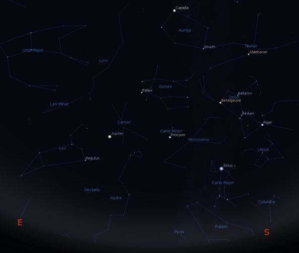Jupiter with the winter constellations