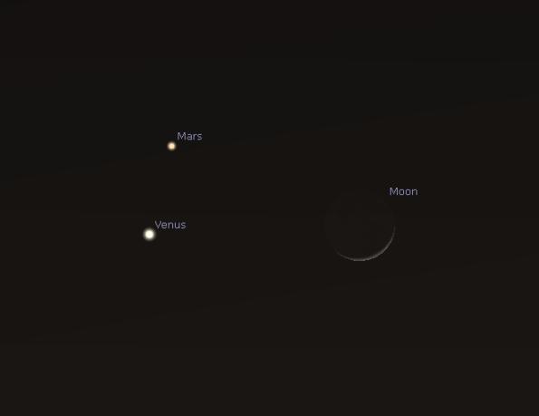 Venus Mras and the Moon Friday night