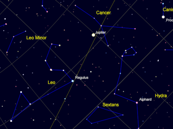 Regulus and nearby constellations