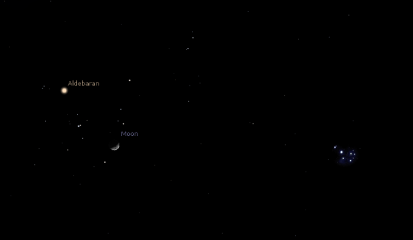 Moon and the Hyades