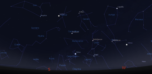 Evening planets and constellations