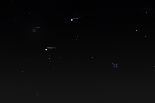 The Moon, Venus and the Hyades