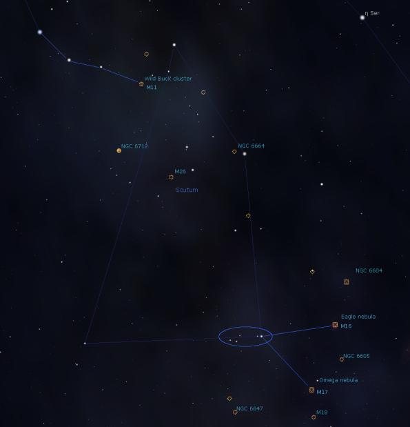 Star hopping in Scutum