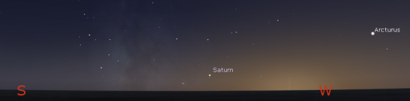 Saturn in evening twilight