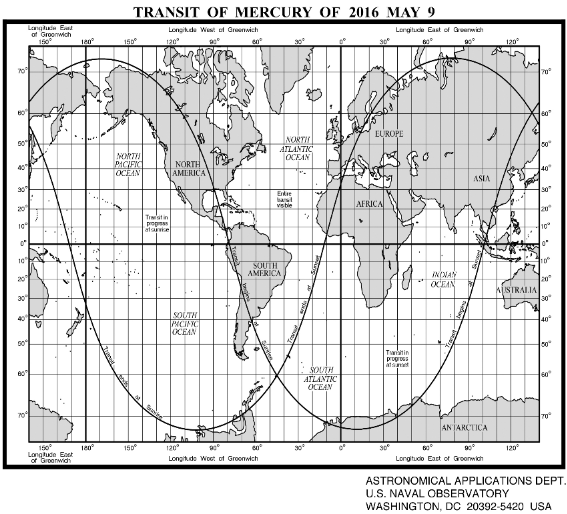 Transit of Mercury visibility map. Click on the Image to view a higher resolution pdf. Credit; Astronomical Almanac Online/USNO