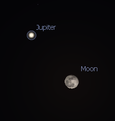 Closeup of Jupiter and the Moon