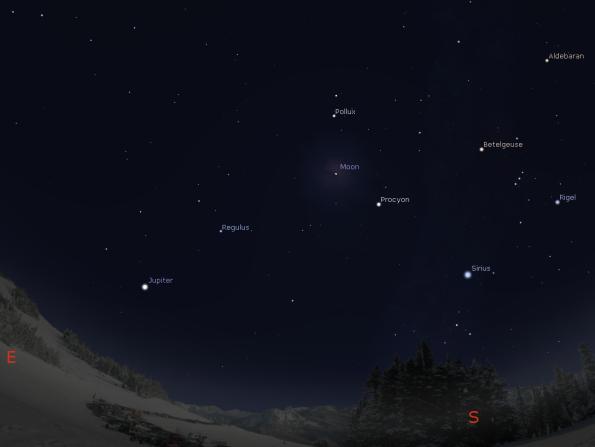 Jupiter, the Moon and stars tonight