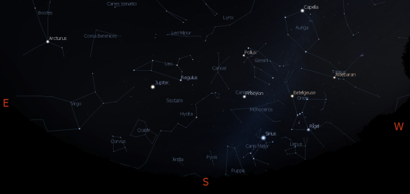 Jupiter and the evening constellations