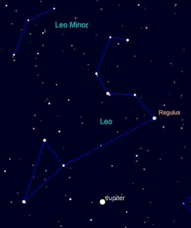 Regulus and Jupiter in the constellation of Leo