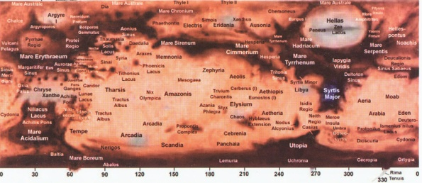 Mars map - North up.