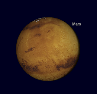 Mars as seen in a powerful telescope