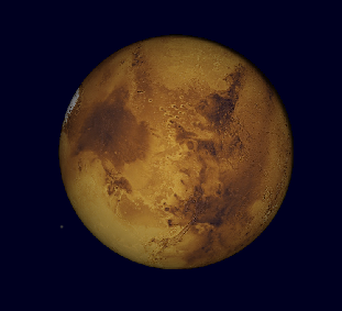 Mars through a large telescope