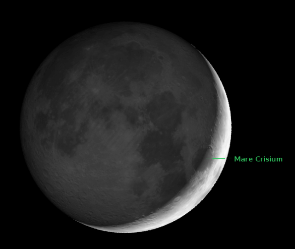 The Moon showing earthshine