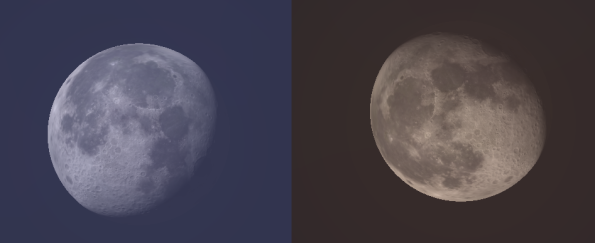 The Moon in the evening and morning.