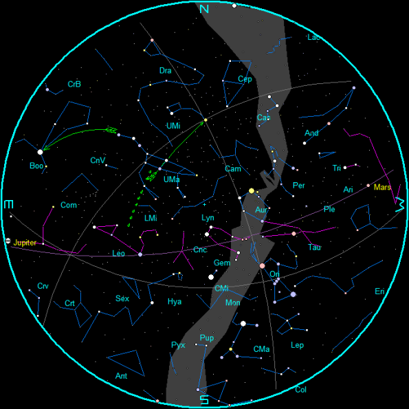 March Evening Star Chart
