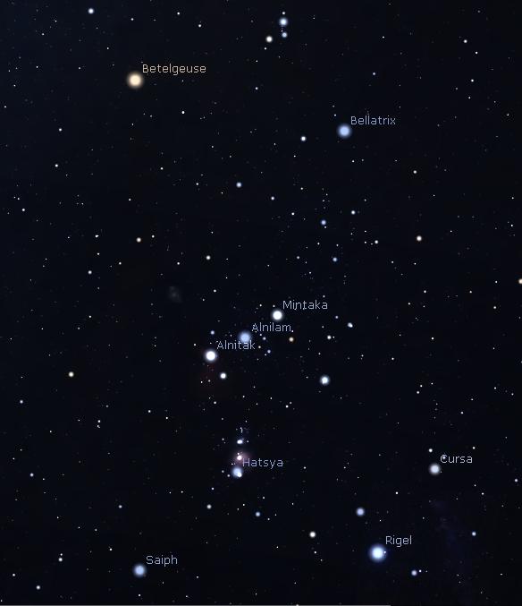 Orion's named stars