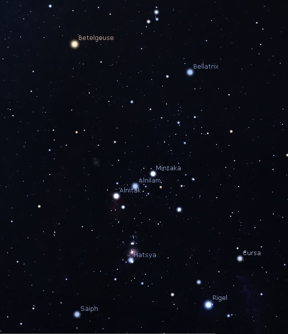 Orion's named stars