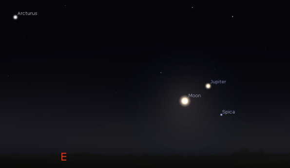 Jupiter, the Moon and the star Spica