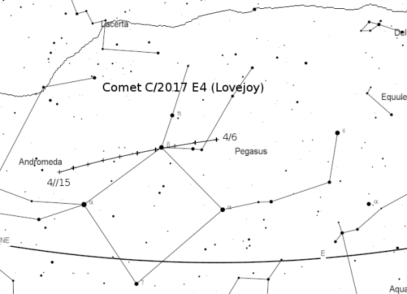 Comet 2017 E4 Lovejoy finder chart.