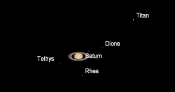 Telescopic Saturn and moons