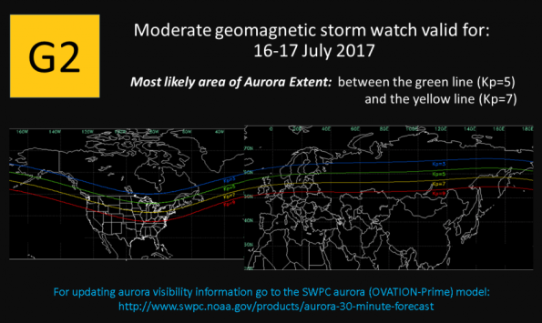 Geomagnetic storm map