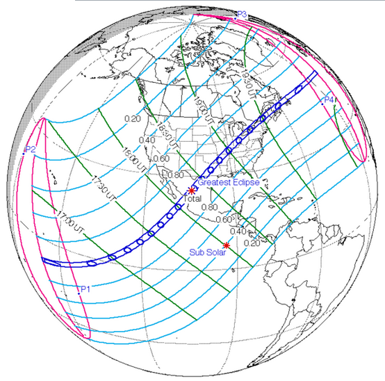 April 8, 2014 Total Solar Eclipse track.