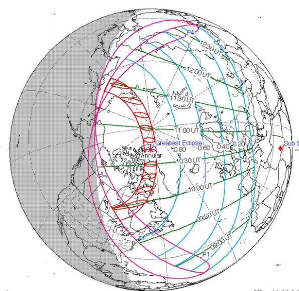 June 10, 2021 Annular Eclipse track.