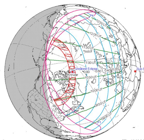 June 10, 2021 Annular Eclipse track.