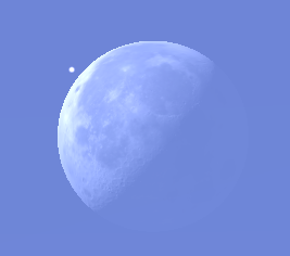 Aldebaran and the Moon at 8:35 a.m.