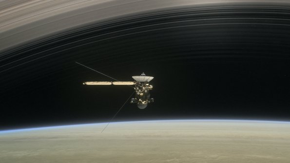 Cassini Flying between the planet and the rings.