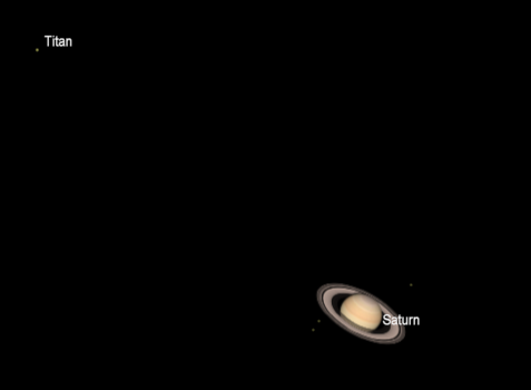 Saturn and its brightest moon Titan