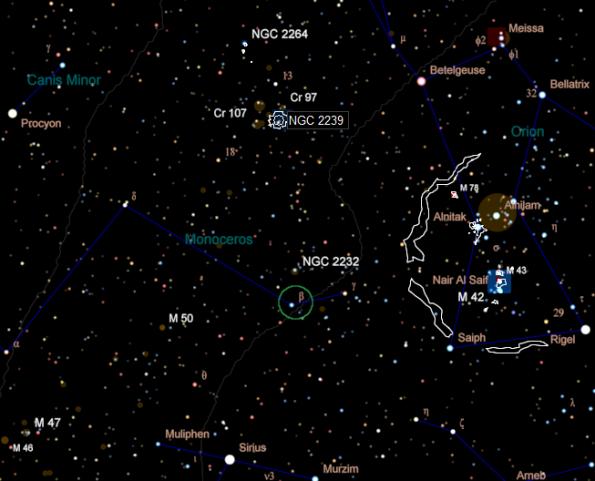 Monoceros DSO finder chart