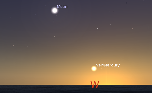 Venus and Mercury, low in the west