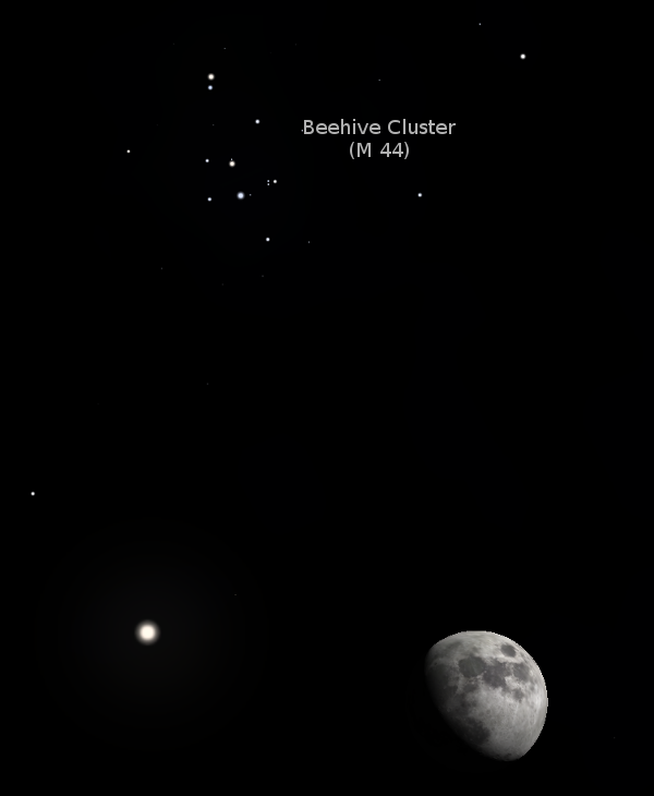 03/26/2018 – Ephemeris – The Moon will slide below the Beehive star