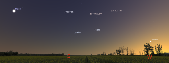 Evening Venus and Moon