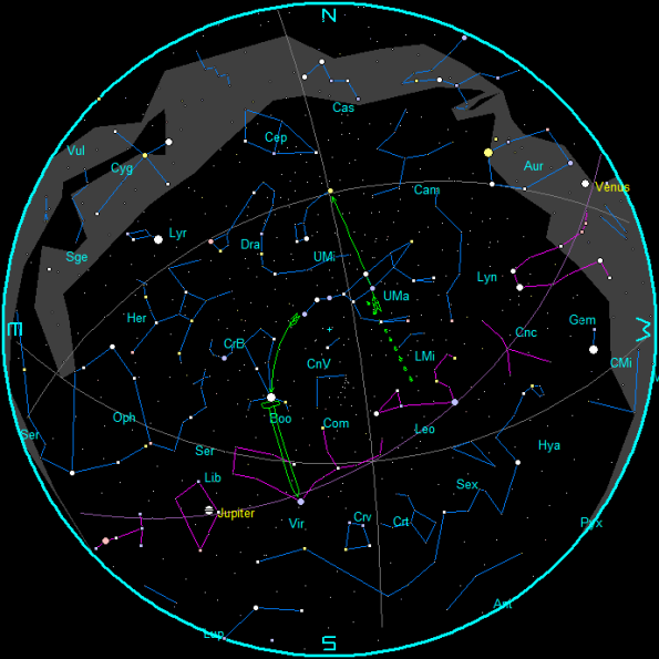 May evening star chart