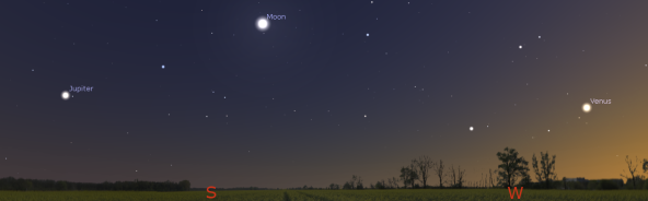 Panorama of the Moon and planets