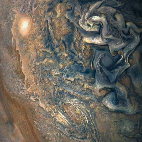 Chaotic storms at Jovian high latitudes
