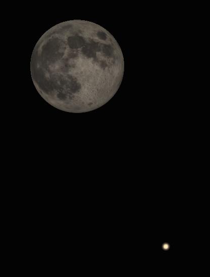 Binocular Moon and Saturn