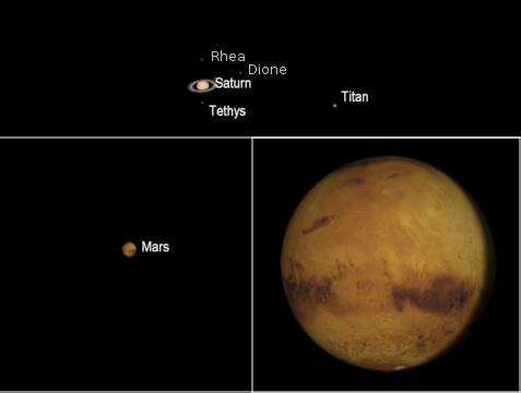 Mars and Saturn telescopicly