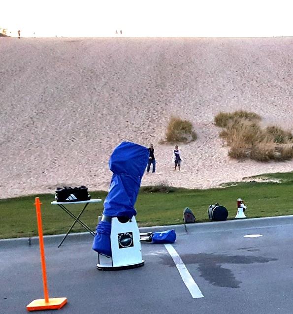 Setting up my telescopes at the Dune Climb